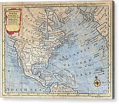 Old World Map Of North America Acrylic Print by Inspired Nature Photography Fine Art Photography