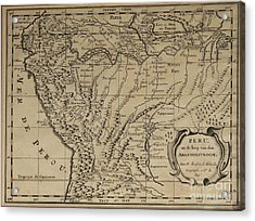 Old World Map Of Peru Acrylic Print by Inspired Nature Photography Fine Art Photography