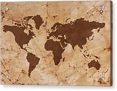 Old World Map On Creased And Stained Parchment Paper Acrylic Print by Richard Thomas