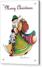 Old World Santa Christmas Art Original Painting By Megan Duncanson Acrylic Print by Megan Duncanson