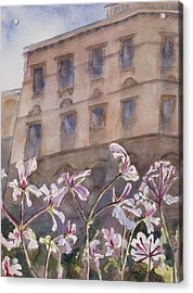 Old World Windowbox Acrylic Print by Mary Benke