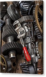 Old Wrenches On Gears Acrylic Print