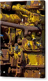 Old Yellow Motor Acrylic Print by Garry Gay