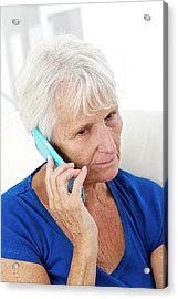 Older Lady Using Mobile Phone Acrylic Print