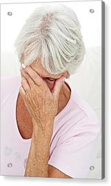 Older Lady With Headache Acrylic Print by Lea Paterson