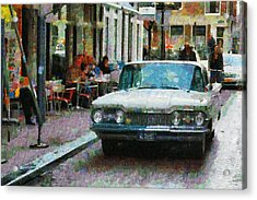 Oldsmobile In Amsterdam Acrylic Print by Mick Flynn