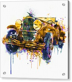 Oldtimer Automobile In Watercolor Acrylic Print by Marian Voicu