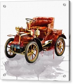 Oldtimer Car Watercolor Acrylic Print by Marian Voicu
