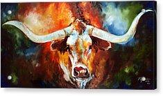 Ole Tex Longhorn Acrylic Print by Marcia Baldwin
