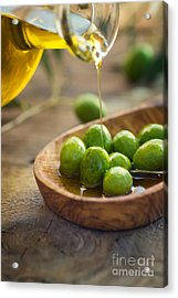 Olive Oil Acrylic Print by Mythja  Photography