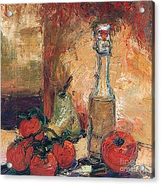 Olive Oil Tomato And Pear Still Life Acrylic Print