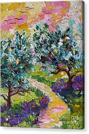 Impressionist Olive Trees And Lavender Path Acrylic Print