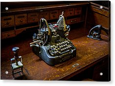 Oliver Typewriter Acrylic Print by Chuck De La Rosa