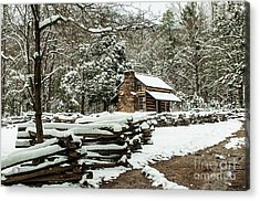Acrylic Print featuring the photograph Oliver's Log Cabin Nestled In Snow by Debbie Green