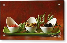 Olives And Salsa Delight Acrylic Print by Inspired Nature Photography Fine Art Photography