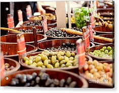 Olives In Barrels Acrylic Print by Ivy Ho