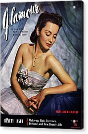 Olivia De Havilland On The Cover Of Glamour Acrylic Print by Scotty Welbourne