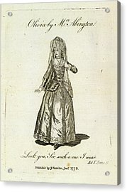 Olivia Played By Mrs Abington Acrylic Print