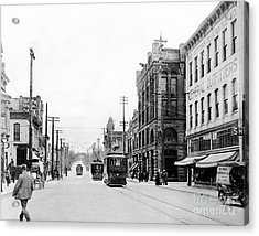 Olympia Main Street 1917 Acrylic Print by Joe Jeffers