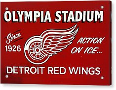 Olympia Stadium - Detroit Red Wings Sign Acrylic Print by Bill Cannon