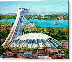 Olympic Stadium Montreal Painting Velodrome Biodome Heritage Art By City Scene Artist Carole Spandau Acrylic Print