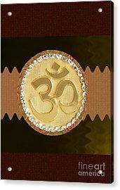Om Mantra Ommantra Hinduism Symbol Sound Chant Religion Religious Genesis Temple Veda Gita Tantra Ya Acrylic Print by Navin Joshi