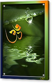 Acrylic Print featuring the mixed media Om On Green With Dew Drop by Peter v Quenter