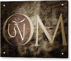 Om Sepia Acrylic Print
