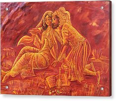 Omar Khayyam Romantic Scene In Two Tone Red And Gold Acrylic Print by Jyoti Sharma