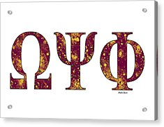 Omega Psi Phi - White Acrylic Print by Stephen Younts