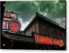Ominous Scene At The Market Acrylic Print by Brian Xavier