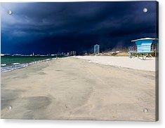 Ominous Sky Over Long Beach Acrylic Print by Heidi Smith