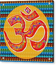 Ommantra Om Mantra Chant Yoga Meditation Spiritual Religion Sound  Navinjoshi  Rights Managed Images Acrylic Print