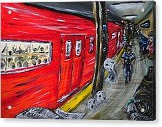 On A Subway Platform Acrylic Print by Ka-Son Reeves