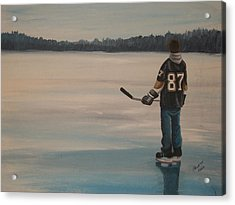 On Frozen Pond - The Kid Acrylic Print