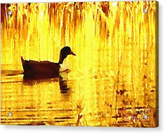 Acrylic Print featuring the digital art On Golden Pond by Cristophers Dream Artistry