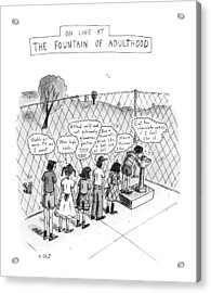On Line At The Fountain Of Adulthood: Watch Acrylic Print by Roz Chast