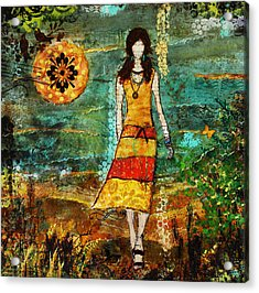 On My Way Home Unique Abstract Folk Art Painting Acrylic Print