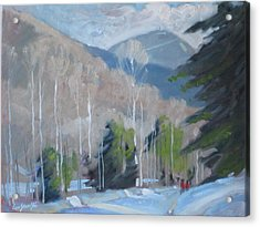 Acrylic Print featuring the painting On The Ashuwillticook Rail Trail by Len Stomski