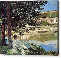 On The Bank Of The Seine Acrylic Print by Claude Monet