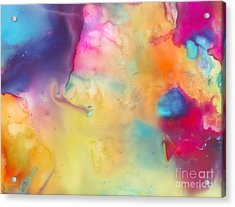 On The Beach Abstract Painting Acrylic Print by Justyna JBJart