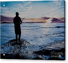 On The Beach Fishing At Sunset Acrylic Print