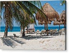 White Sandy Beach In Isla Mujeres Acrylic Print