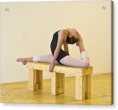 Practicing Ballet On The Bench Acrylic Print