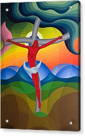 On The Cross Acrylic Print by Emil Parrag
