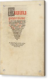 'on The Divine Proportion' (1509) Acrylic Print by Library Of Congress