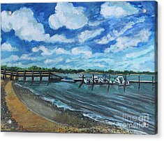 On The Dock In Great Harbors Acrylic Print by Rita Brown