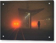 On The Platform Or At The Subway Station Acrylic Print by Matija Posavec