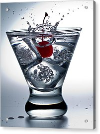 On The Rocks With Cherry Splash Acrylic Print by John Hoey