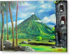 On The Spot Painting Of Mayon In Cagsawa Acrylic Print by Manuel Cadag